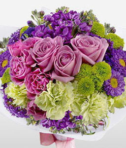 Glamour-Blue,Green,Lavender,Mixed,Purple,Violet,Carnation,Mixed Flower,Rose,Bouquet