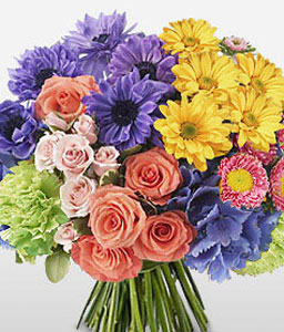 Chroma Burst-Blue,Lavender,Mixed,Orange,Pink,Purple,Violet,Yellow,Carnation,Chrysanthemum,Daisy,Gerbera,Hydrangea,Mixed Flower,Rose,Bouquet