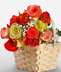 Myriad Love-Mixed,Orange,Red,Yellow,Rose,Arrangement,Basket