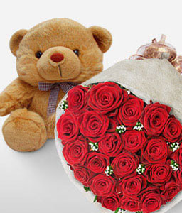 Hugs And Kisses-Red,Rose,Teddy,Bouquet