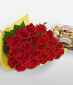 Sparkling Gift Combo-Red,Chocolate,Rose,Bouquet