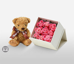 Rose decolation & Teddy-Pink,Rose,Teddy,Hamper