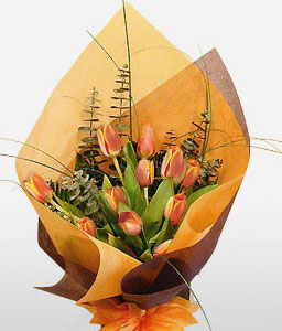 Golden Touch-Orange,Tulip,Bouquet