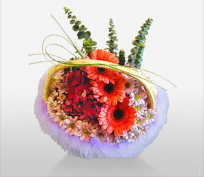 Little Garden-Mixed,Orange,Red,Chrysanthemum,Daisy,Gerbera,Mixed Flower,Arrangement,Basket