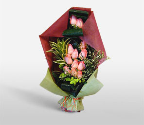 Elegant Bouquet-Green,Pink,Rose,Bouquet