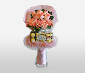 Pink Grandeur-Peach,Pink,Rose,Bouquet