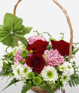 Paradise island-Lavender,Mixed,Peach,Pink,Purple,Red,Violet,Carnation,Mixed Flower,Rose,Arrangement,Basket