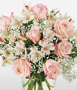 Paradise Island-Pink,Alstroemeria,Lily,Mixed Flower,Rose,Arrangement