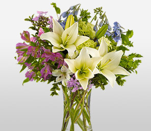 Heavenly Breeze-Blue,Green,Mixed,Purple,White,Alstroemeria,Carnation,Lily,Mixed Flower,Arrangement