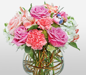 Pink Panther-Mixed,Pink,Purple,White,Alstroemeria,Carnation,Rose,Arrangement