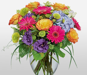 Simply Glorious-Lavender,Orange,Pink,Purple,Violet,Daisy,Gerbera,Hydrangea,Mixed Flower,Rose,Arrangement