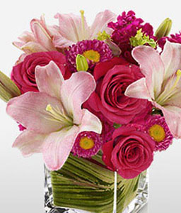 Manhattan Sunrise-Pink,Red,Lily,Rose,Arrangement