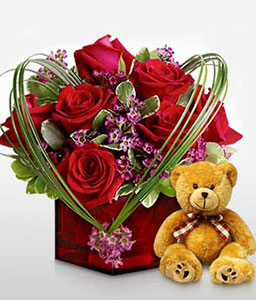 Ruby Cube-Red,Rose,Teddy,Arrangement