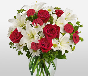Dawning Glory-Red,White,Carnation,Chrysanthemum,Lily,Mixed Flower,Rose,Arrangement