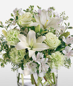 Silver And Green-Green,White,Alstroemeria,Carnation,Lily,Mixed Flower,Rose,Arrangement