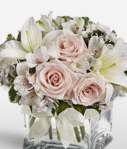 Sugar Cube-Pink,White,Lily,Alstroemeria,Rose,Arrangement