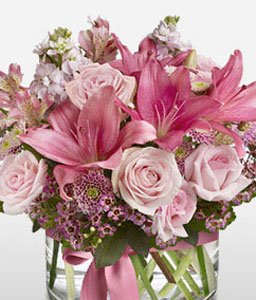Pink Kiss-Pink,Purple,Chrysanthemum,Lily,Mixed Flower,Rose,Arrangement