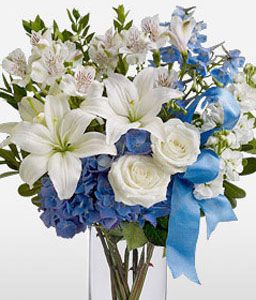 A Touch Of Blue-Blue,White,Hydrangea,Lily,Mixed Flower,Rose,Arrangement
