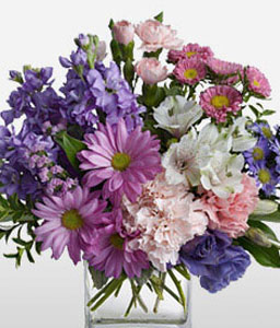 Lavender Ice-Lavender,Mixed,Pink,Purple,White,Carnation,Chrysanthemum,Daisy,Gerbera,Arrangement