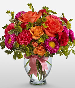 Roseate-Pink,Red,Rose,Mixed Flower,Carnation,Arrangement