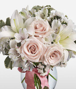 Sweet Fantasy-Pink,White,Alstroemeria,Lily,Mixed Flower,Rose,Arrangement