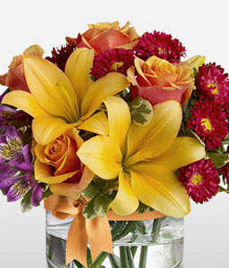 Colors Of Life<Br><Font Color=Red>Roses & Lilies Arrangement</Font>