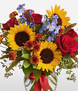 Elements Of Elegance-Lavender,Mixed,Orange,Purple,Yellow,Chrysanthemum,Mixed Flower,Rose,SunFlower,Arrangement