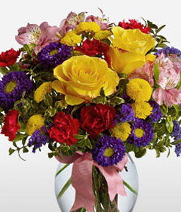 Felicity-Mixed,Pink,Purple,Red,Violet,Yellow,Alstroemeria,Carnation,Chrysanthemum,Mixed Flower,Rose,Arrangement