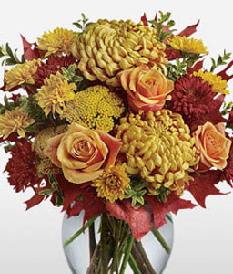 Colors Of Dusk-Red,Yellow,Chrysanthemum,Mixed Flower,Rose,Arrangement