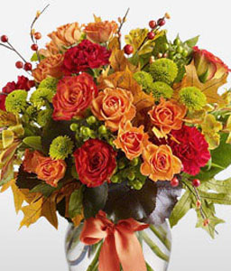 Seraphic Seasons-Green,Mixed,Orange,Red,Yellow,Alstroemeria,Carnation,Chrysanthemum,Mixed Flower,Rose,Arrangement