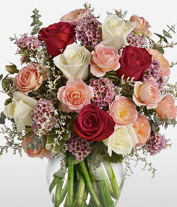 Classic Romance-Mixed,Pink,Red,White,Rose,Arrangement