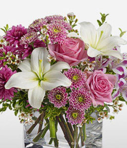 Sovereign Resplendence-Mixed,Pink,Purple,White,Alstroemeria,Chrysanthemum,Lily,Arrangement