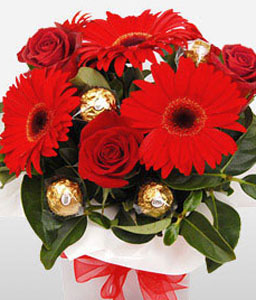 Delicious Red-Red,Rose,Gerbera,Chocolate,Bouquet