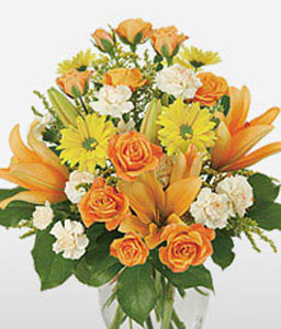 Florida Keys-Mixed,Orange,Yellow,Carnation,Lily,Mixed Flower,Rose,Arrangement