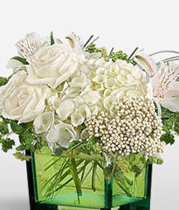 Pure-White,Alstroemeria,Hydrangea,Mixed Flower,Arrangement