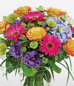 Simply Glorious-Blue,Mixed,Pink,Yellow,Daisy,Hydrangea,Mixed Flower,Rose,Arrangement