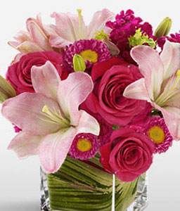 Manhattan Sunrise-Pink,Lily,Rose,Arrangement
