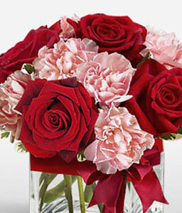 Jaime Roses & Carnations in a Cube-Pink,Red,Carnation,Mixed Flower,Rose,Arrangement