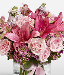 Pink Kiss-Pink,Chrysanthemum,Lily,Mixed Flower,Rose,Arrangement