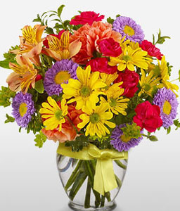 Season Wonder-Mixed,Purple,Red,Yellow,Alstroemeria,Chrysanthemum,Daisy,Mixed Flower,Arrangement