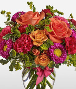 Roseate <Br><Font Color=Red>Beautiful Mixed Flowers - Free Vase </Font>