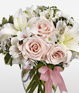 Sweet Wonder-Pink,White,Mixed Flower,Lily,Rose,Arrangement