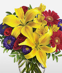 Spectacular-Mixed,Purple,Red,Yellow,Alstroemeria,Gerbera,Lily,Mixed Flower,Rose,Arrangement