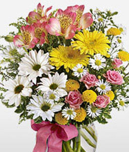 Majestic Birthday Flowers-Mixed,Pink,White,Yellow,Carnation,Chrysanthemum,Daisy,Lily,Mixed Flower,Arrangement