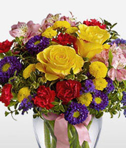 Felicity-Mixed,Pink,Purple,Red,Yellow,Alstroemeria,Carnation,Chrysanthemum,Mixed Flower,Rose,Bouquet