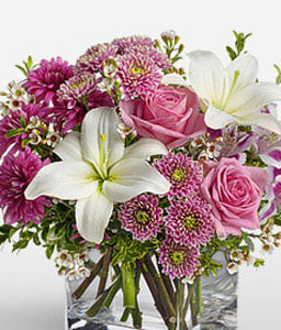 Sovereign Resplendence-Pink,White,Alstroemeria,Chrysanthemum,Lily,Mixed Flower,Arrangement