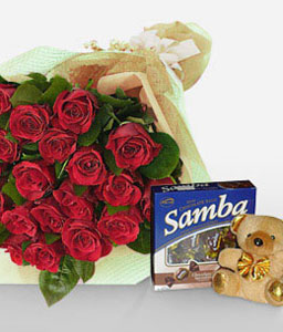 Sentimental Surprise-Red,Chocolate,Rose,Teddy,Bouquet