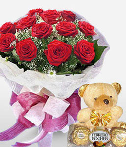 Sweet Sensation-Red,Chocolate,Rose,Teddy,Bouquet
