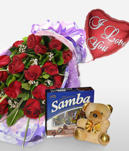Color Of Love - Red-Red,Rose,Chocolate,Balloons,Teddy,Bouquet