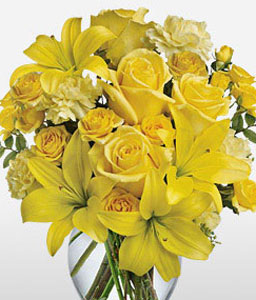 Yellow Bells-Yellow,Carnation,Lily,Mixed Flower,Rose,Arrangement